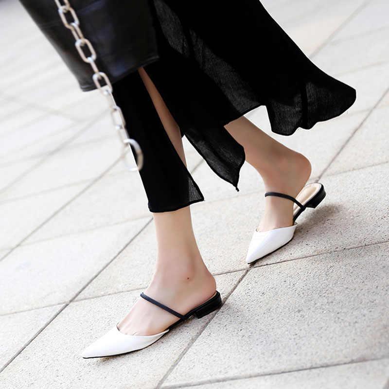 ชี้แบนรองเท้าแตะแฟชั่นฤดูร้อนหญิง 2019 ใหม่หมวกสวมใส่ Cool ลากสาวรองเท้าแตะครึ่ง