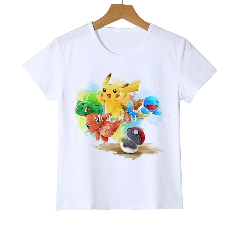 Pikachu Kids T Shirt Fashion Pokemon New Design Funny Cool Girls T-shirt Short Sleeve Anime White Printed Tshirt Boys Tee Z18-2 floral printed raglan sleeve tee