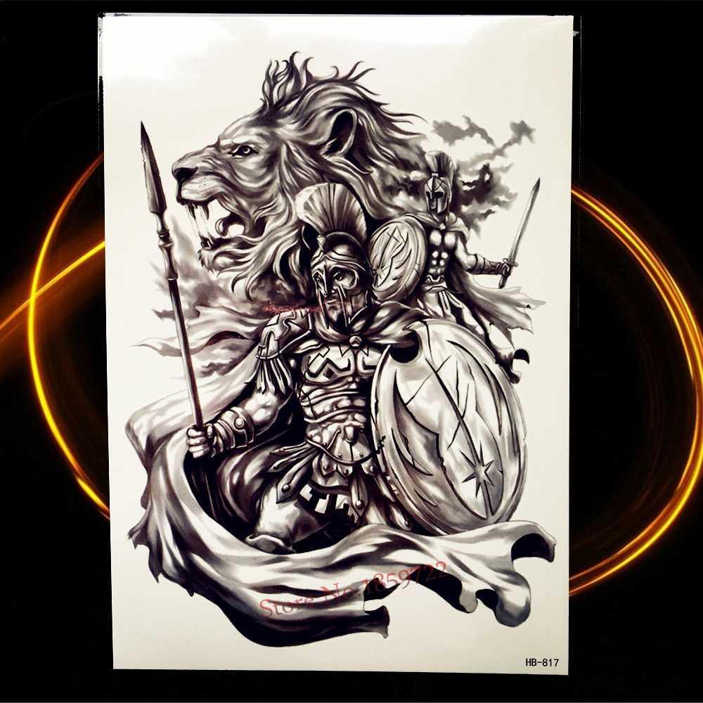 Временная татуировка героя Спарты, воина для мужчин и женщин, черное боди-арт, поддельные флэш-тату-наклейки, тройская старинная Татуировка рыцарь войны