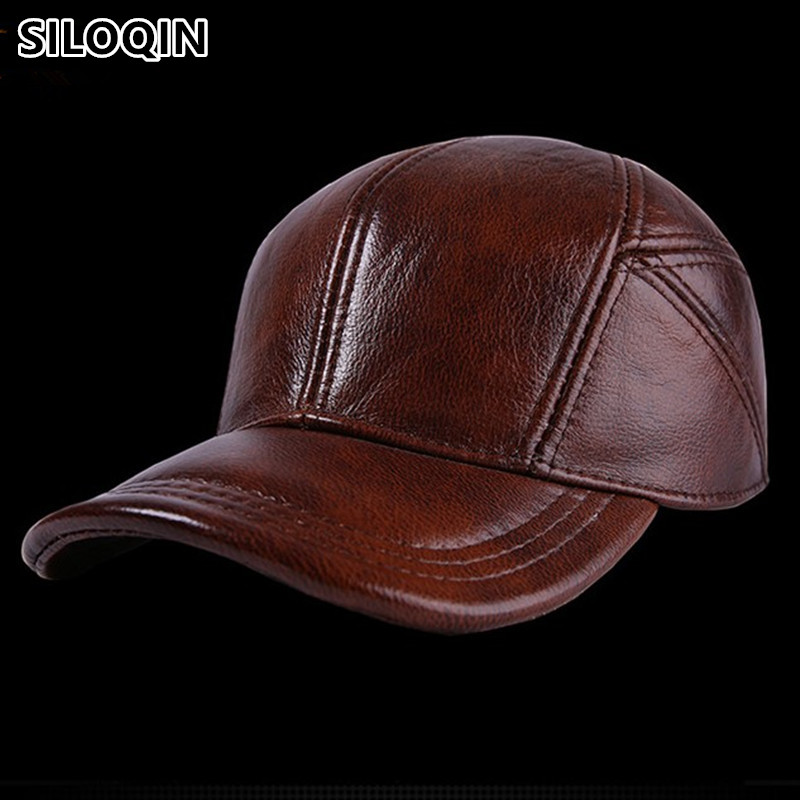 056435a59937 SILOQIN Adjustable Size Men s Winter Hats Genuine Leather Cowhide Warm Baseball  Caps With Ears High Quality