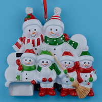 Resin Snowman Family Shovel Of 6 Resin Christmas Tree Ornaments Personalized Gifts Home Holiday Decor Miniature