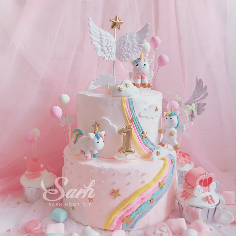 Pink White Unicorn Collection Cake Decoration Angel Wing Balloon Cake Topper for Party Decoration Dessert lovely Gifts unicorn party birthday decorations unicorn party 20cm artificial rose flowers banner cake topper baby shower party cake decor