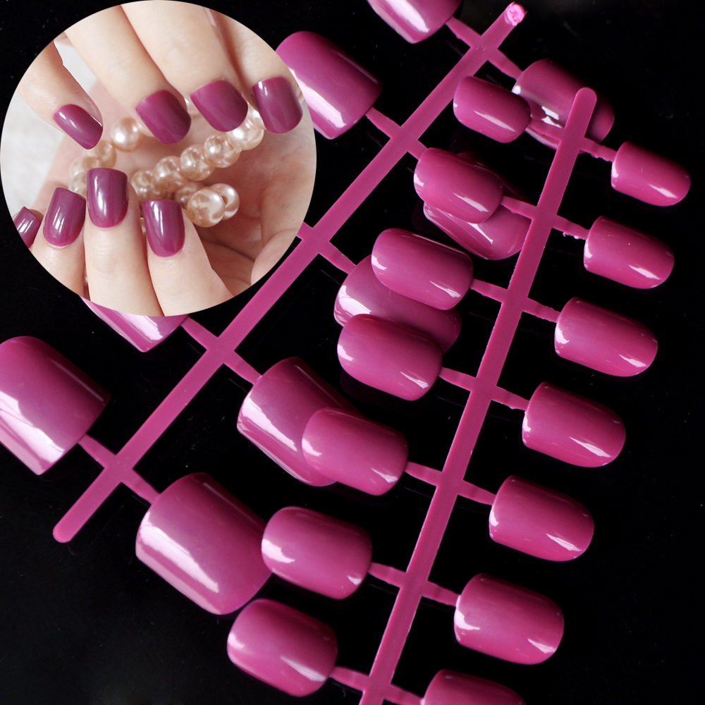 Classic Shape Flat Fake Finger Nails Gorgeous Dark Rose Acrylic ...
