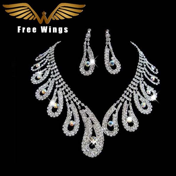 Peacock Tail Designs Crystal Elegant Rhinestone Necklaces