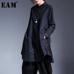 [EAM] 2020 New AutumnLapel Solid Color Black Pleated Split Joint Irregular Big Size Long Shirt Blouse Women Fashion Tide JD328