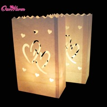 10Pcs Sunshine Tea light Holder Luminaria Paper Lantern Candle Bag For Christmas Party Wedding Decoration Glow in Dark Party(China)