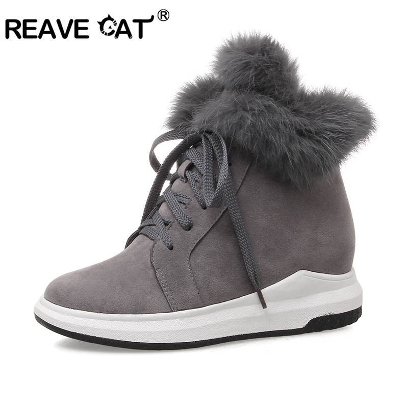 REAVE CAT Women Shoes Brand Woman Winter Snow Boots female Warm Fur Plush wedge Snow Ankle