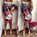 Hot Sale Mickey Mous Women Dresses Letter printing Casual Minnie Half Sleeve dress miki Package Hip Charming Dress