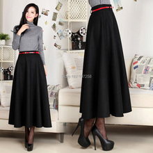 6XLPlus Size Free Shipping 2015 Spring High Quality Autumn&Winter Maxi Long Women A-line Pleated Wool Warm Skirt