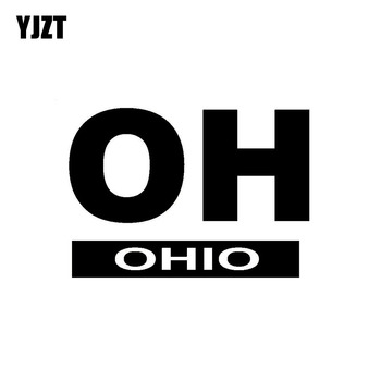 YJZT 14.4CM*10.1CM OH OHIO Car Sticker Vinyl Decal Black Silver C10-01476 image