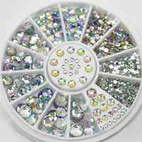 DIY Nail Art koła wskazówek kryształki brokatu Rhinestone 3D do paznokci sztuki dekoracji biały AB kolor akrylowe diamentowe wiertła