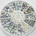 DIY Nail Art Wheel Tips Crystal Glitter Rhinestone 3D Nail Art Decoration white AB Color Acrylic Diamond Drill