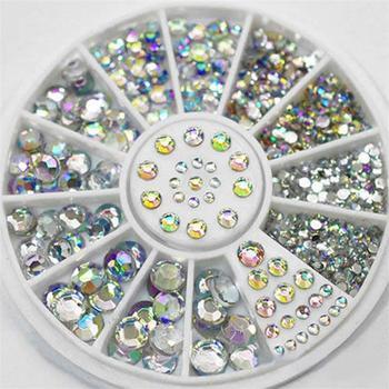 DIY Nail Art porady koła kryształki brokatu Rhinestone 3D zdobienie paznokci dekoracje biały AB kolor akrylowe diamentowe wiertło tanie i dobre opinie MANZILIN NRD-026 Z tworzywa sztucznego 1pcs