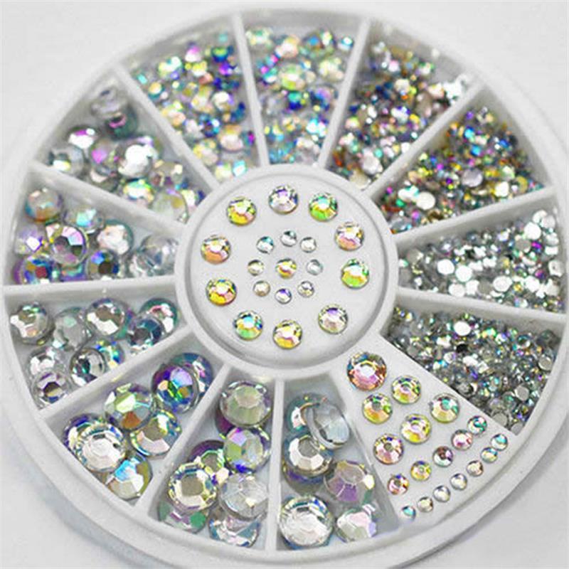 Diy prego arte roda dicas cristal glitter strass 3d decoracao da arte do prego branco ab cor acrilico diamante broca