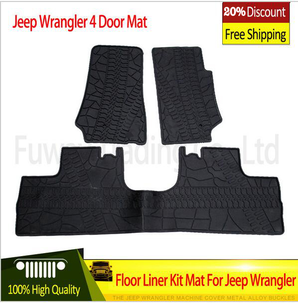 good quality For Jeep Wrangler Black Rubber Car Mat Black with Red Colors 2 Doors 4doors Front Cab 2007-2015 Foot /floor Pad 2pcs new car red solid steel front grab handles with power coated surface resist rust for jeep wrangler 2 4 door 2007 2015