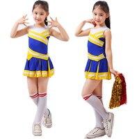 Competição estudantil Cheerleaders Menina Uniforme Escolar Uniformes Da Equipe do Elogio Crianças Conjuntos Meninas Classe Terno Traje Desempenho Rooter