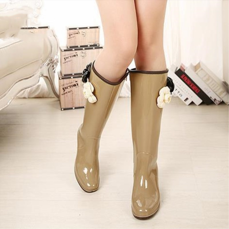 New Women Fashion Back Bowtie Platforms Wedges Rain Boots Mid calf Waterproof Flower Water Shoes Woman Side Zipper Rainboots