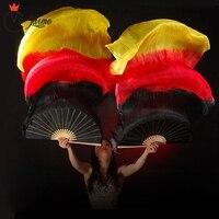 18 Colors Stage Performance Property Dance Fans 100% Silk Veils Colored 180cm Women Belly Dance Fan Veils (2 Pieces)