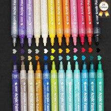 24 צבע אקריליק קבוע מרקר עט, יד DIY צבע מרקר עט סימון עמיד למים עבור ציוד לבית ספר עיצוב אמנות