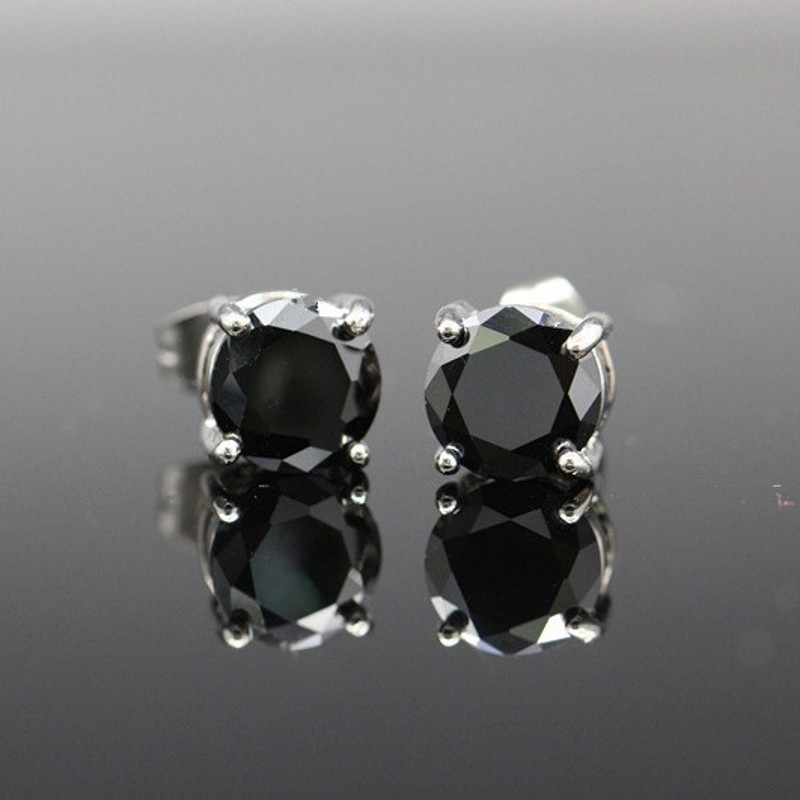7 Color Options ! Brincos Brand Fashion 8mm Round Cubic Zirconia Crystal Unisex Stud Earrings For Men And Women