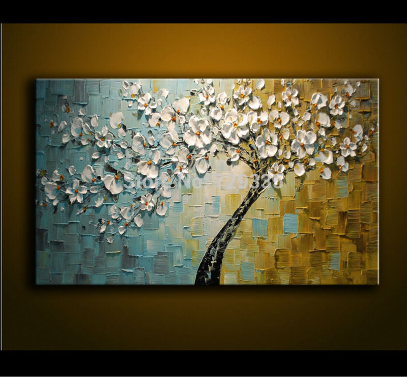 hand painted Oil Painting Palette knife Thick 3D flowers
