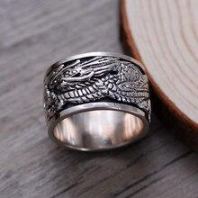 Новые поступления 2017 кольца кольцо дракона для мужчин серебро 925 ювелирных изделий широкий властная мужские кольца