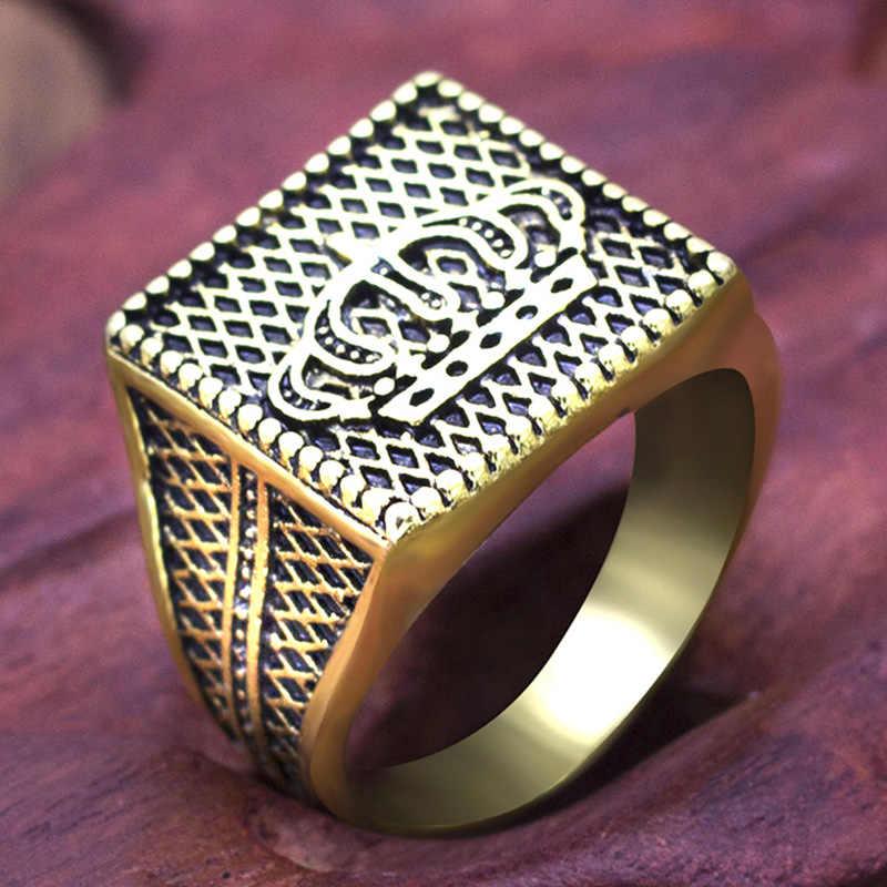 แฟชั่น Hip Hop Star Cross Crown แหวนอุปกรณ์เสริม Vintage Punk Rock Big Biker Signet แหวนโบราณเงินเครื่องประดับทิเบต