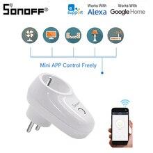 Интеллектуальный выключатель света Sonoff S26 Wi-Fi Smart сигнал тревоги США/Великобритания/ЕС разъем беспроводной штекер Мощность розетки умный дом переключатель работы с Alexa Google Assistant IFTTT
