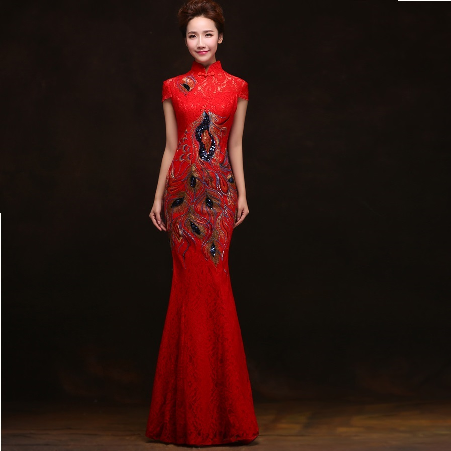 Tienda de ropa china Encaje Dragon Phoenix cheongsam chino Vestidos ...