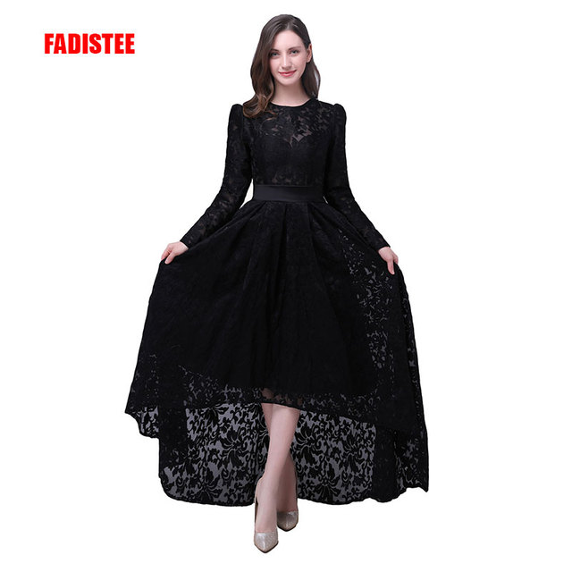 FADISTEE Elegant prom party Dresses Lace Robe De Mariage high-low style  dresses Vestido de Noiva Casamento full sleeves 593c2110c447