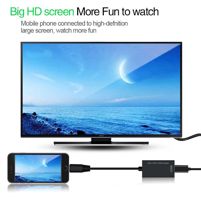 2 in 1 Type C Micro USB To HDMI Adapter For TV Monitor 1080P HD HDMI Audio Video Cable Converter For Samsung HUAWEI Xiaomi - ANKUX Tech Co., Ltd