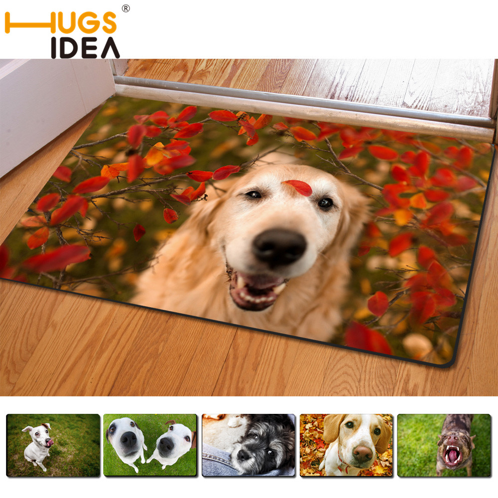 HUGSIDEA Funny 3D Kaiwai Pets Dog Carpet For Living Room Look up Puppies Carpets and Rugs For Kids Bedroom Thin Rubber Rugs Mats