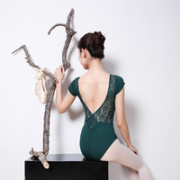New Elegant Sexy Dark Green Black Blue Womens Adult Gymnastics Dance Ballet Lace Leotard Ballet Dance