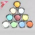 De gama alta de doble cara plegable portátil pequeño espejo de maquillaje metálico Espelho de Bolso Para Los Regalos de Boda Personalizados 10 colores
