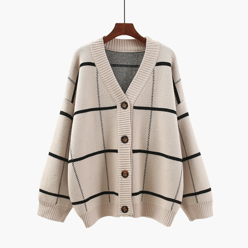 Loose sweater cardigan 2018 new spring winter women coat jacket sweater Plaid thickening cardigans outwear jackets tops