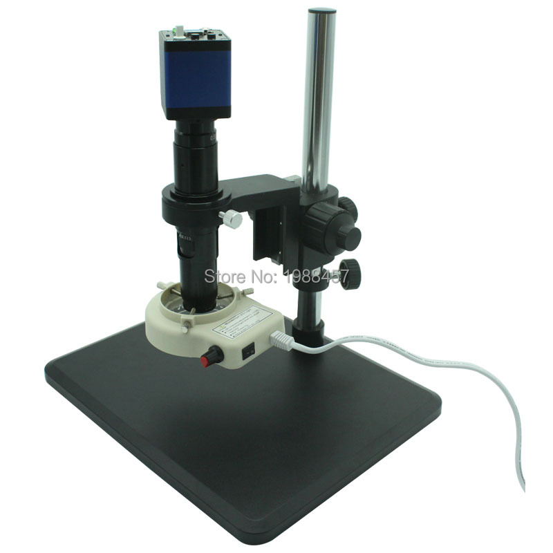 HD 2MP 60FPS VGA Industrial Digital Microscope Camera+Fine Adjustment Bracket+10X-200X Optical C-Mount Lens+LED lights