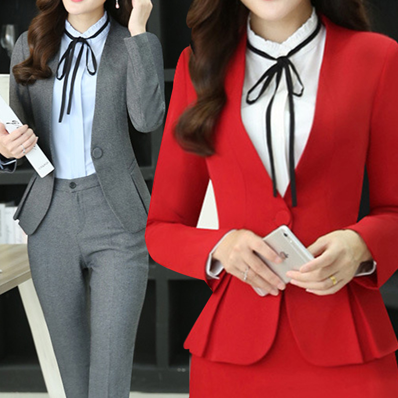 2017 Slim font b Women b font Full Long Sleeve Tunic Blazer Work Office Lady Business