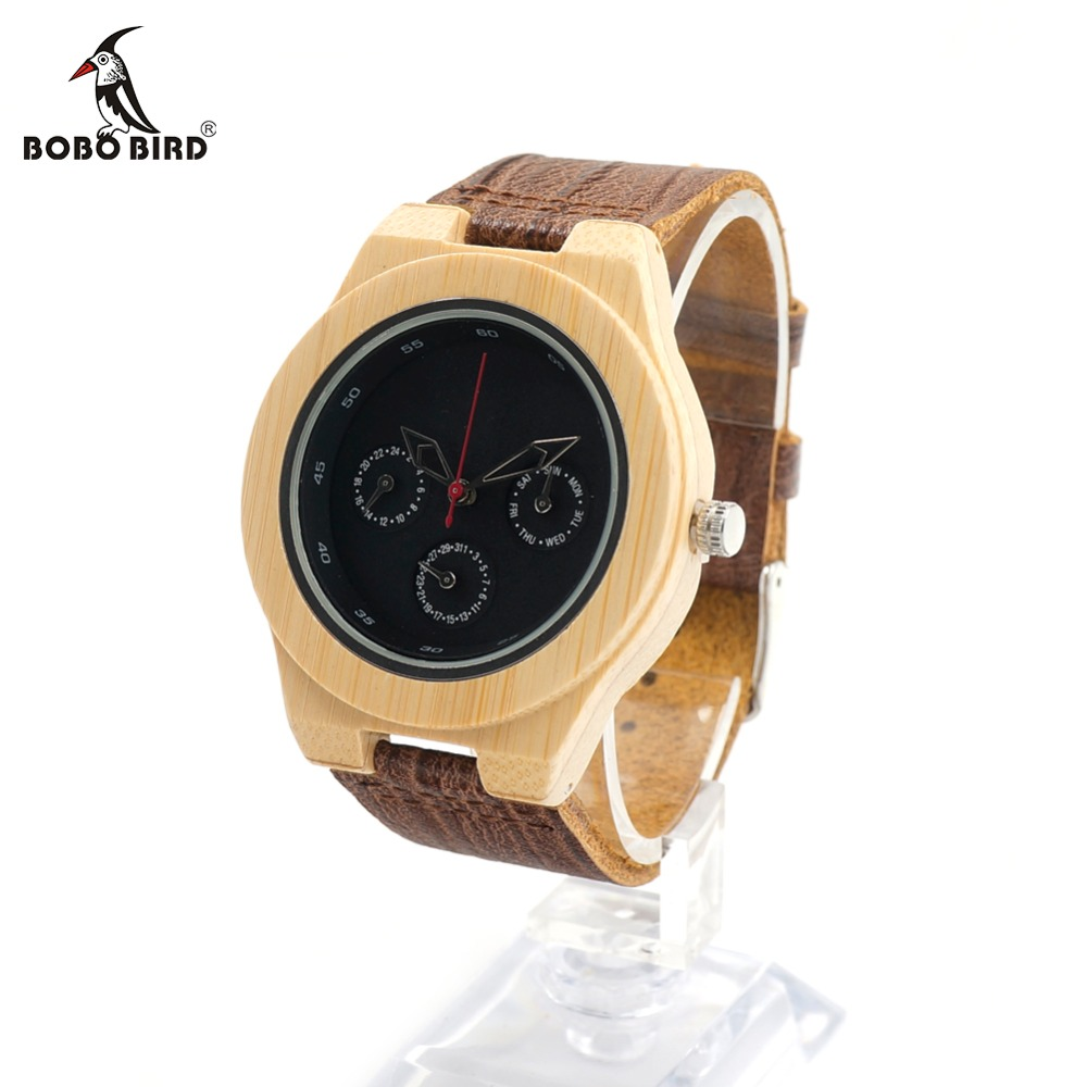 BOBO BIRD Shows Time Date Week and Year Wooden Watch CbH28 with Luxury Bamboo Wristwatch Unique Design Dial Face Men Clocks bobo bird brand new sun glasses men square wood oversized zebra wood sunglasses women with wooden box oculos 2017