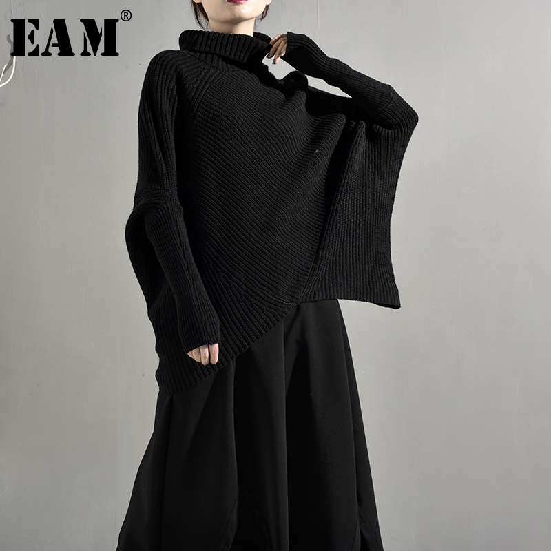 [EAM] Black Pleated Big Size Knitting Sweater Loose Fit High Collar Long Sleeve Women New Fashion Tide Autumn Winter 2019 1B311