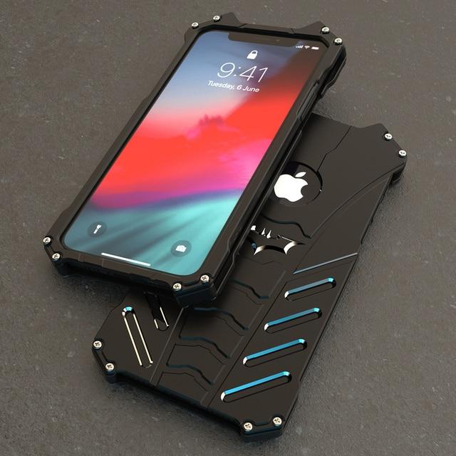 Funda armadura a prueba de golpes para iPhone, funda trasera de Metal con soporte para iPhone 12 Pro Max Mini 6 6S 7 8 Plus 11 5s