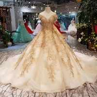 Gold Ball Gowns Wedding Dresses 2019 Sexy Off Shoulder Lace up Beaded Corset Custom Made Real Photos Puffy Bridal Gowns