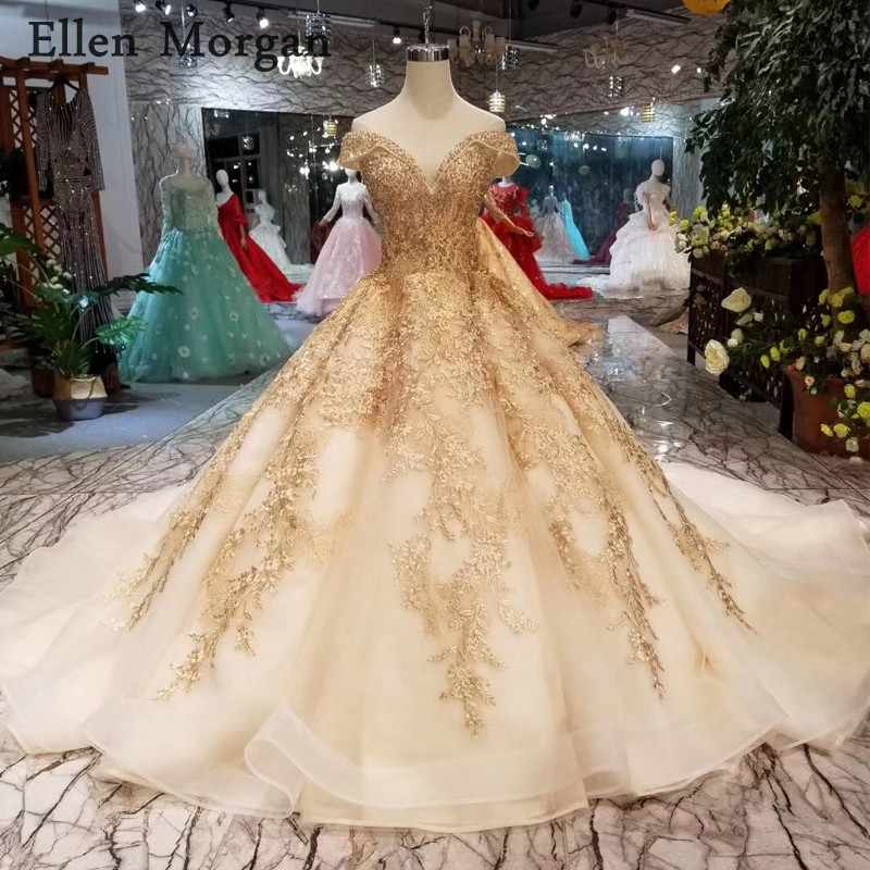 Gold Ball Gowns Wedding Dresses 2019 Sexy Off Shoulder Lace up Beaded Corset  Custom Made Real b05b1d2a2a03