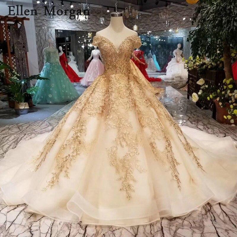 Robes de bal en or robes de mariée 2019 Sexy hors épaule Corset à lacets perlé sur mesure vraies Photos robes de mariée gonflées