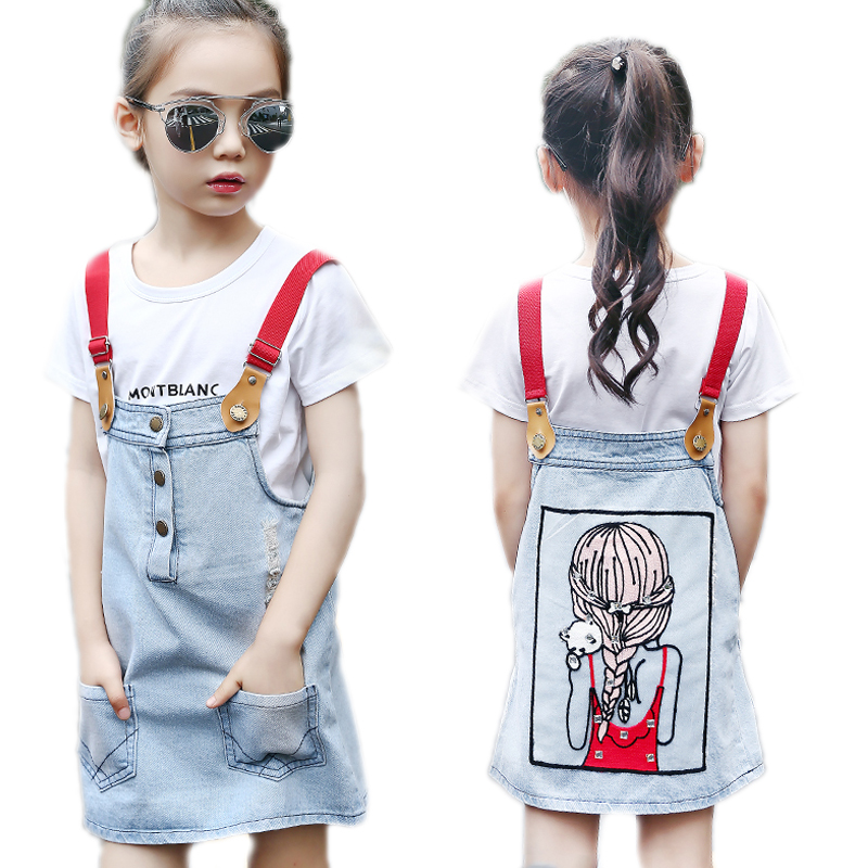 Girls Summe Clothes Sets 2017 Girls Denim Strap Dresses+Letter Short Sleeve T shirt 2pcs kids clothes children clothing 4-13T