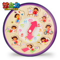 candice guo! multifunctional Dora scene digital clock toy educational wooden puzzle baby time early learning 1pc