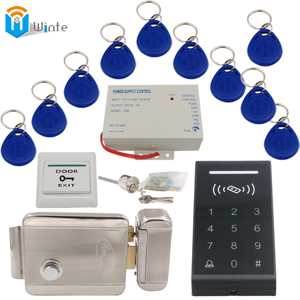 DIY Access Control Door system Matllic Electric Lock+K3 rfid Card Reader+ RFID Keychain card+ exit button+Power supply  Winte rfid door access control system kit set with electric lock power supply doorbell door exit button 10 keys id card reader keypad