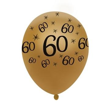 60th Birthday Balloon Gold 10 Pcs