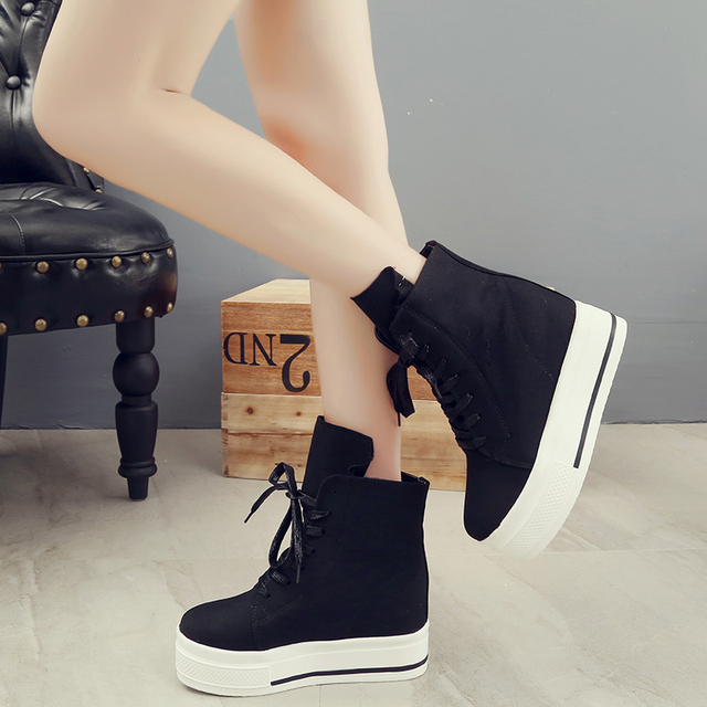 7649d293bf4 Women Sneakers 2018 New Autumn Canvas Women Casual Shoes Boots Lace-Up Women  Fashion Shoes