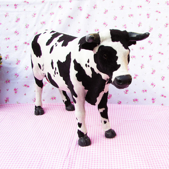 simulation cow about 52x30cm fur Dairy cow model decoration gift h1325