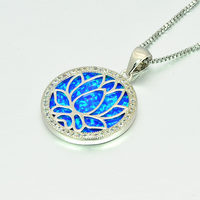 Blue Round lotus Fire Opal Stone Sliver Pendants For Women PJ180219004 2